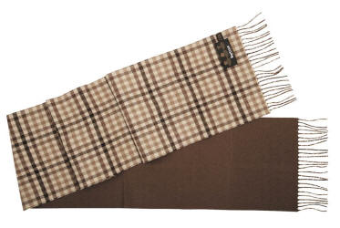 Barbour Reversible Merino Cashmere Scarf- Chocolate
