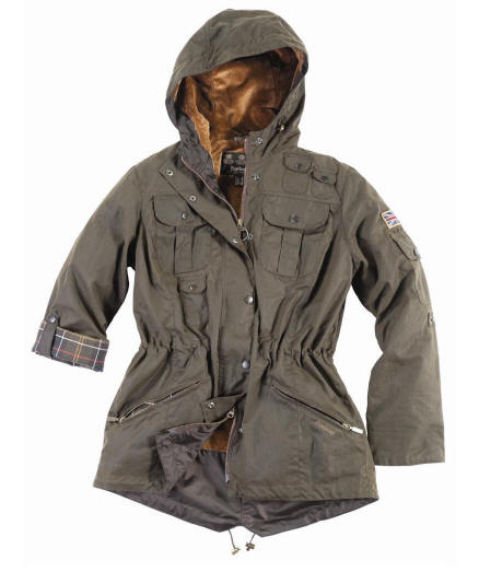 Barbour Ladies Winter Force Parka- Olive | Classic Tartan