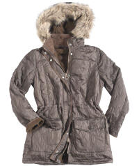 Womens Barbour Esk Polarquilt Parka Jacket - Brown