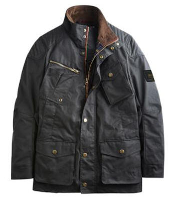 LOCKHART Mens Waxed Biker-Style Jacket