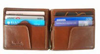 Tony Perotti Italian leather clip credit card wallet TP-2312Brn - Brown