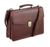 Tony Perotti Italian leather two gusset briefcase TP-8008Brn - Brown