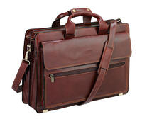 Tony Perotti Italian leather two gusset briefcase TP-9469Brn - Brown