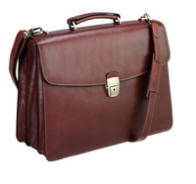 Tony Perotti Italian leather 3 gusset briefcase TP-8009Brn - Brown