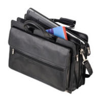 Tony Perotti Italian leather two gusset briefcase TP-9469Blk  - Black