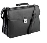 Tony Perotti Italian leather 3 gusset briefcase TP-8009Blk - Black