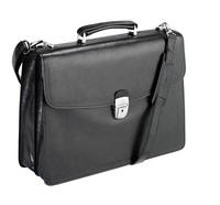 Tony Perotti Italian leather two gusset briefcase TP-8008Blk - Black